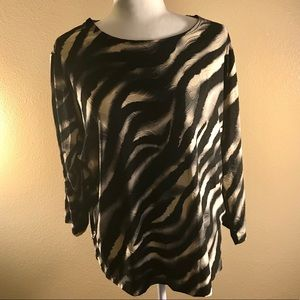 JM Collection 1X Zebra Print  3/4 sleeve blouse